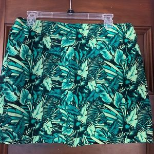 NEW H&M divided green palm leaf print skirt